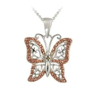 Rose Gold over Silver Champagne Diamond Accent Butterfly Necklace