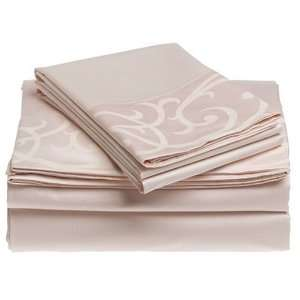 Thread Count Egyptian Cotton Queen Sheet Set, Blush Home & Kitchen