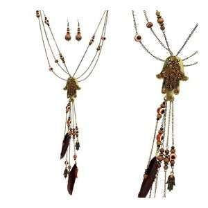 Fashion Jewelry Desinger Inspired Evil Eye and Hamsa Symbol Necklace