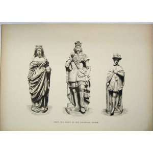 Antique Print Statues Front Guildhall Chapel London Home