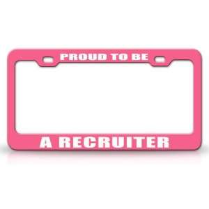 Career, High Quality STEEL /METAL Auto License Plate Frame, Pink/White