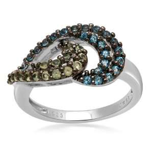 Ring with Round Blue Topaz and Peridot in Sterling Silver, Ring Sz 7