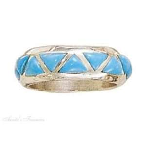 Sterling Silver Unisex Turquoise Band Ring Size 7 Jewelry