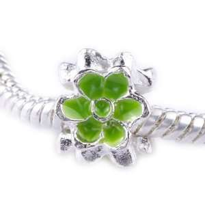 TheIKA x1 Antique Silver Plated Green FlowerCharm Bead Handmade PB
