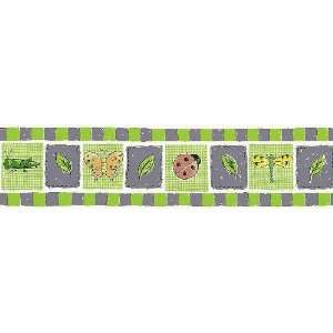 Busy Bees Purple and Green Wallpaper Border in Bright
