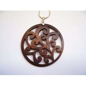 Hand Made Wood Filigree Pendant w/ 18 silver chain: Everything Else
