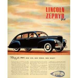 1940 Ad Lincoln Zephyr V 12 Blue Luxury Car Automobile