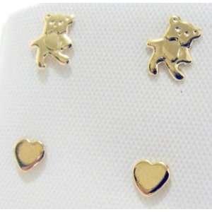 Childs 18kt Gold (lg) Heart & Teddy Bear Stud Earrings