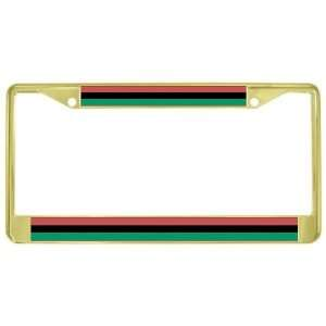 Afro African American Flag Gold Tone Metal License Plate