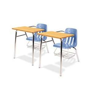 9400 Series Chair Desk, 21w x 33 1/2d x 30h, Medium Oak/Blueberry, 2/C