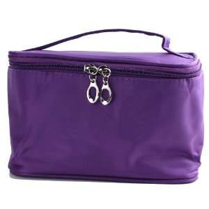 LY Purple Foldable Lady Makeup Cosmetic Hand Case Zipper