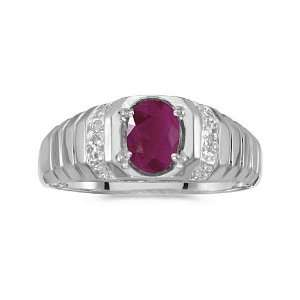 10k White Gold Oval Ruby And Diamond Ring (Size 9.5) Jewelry