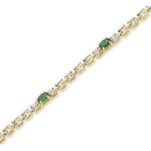 14k Yellow Gold Oval Emerald Diamond Tennis Bracelet Jewelry