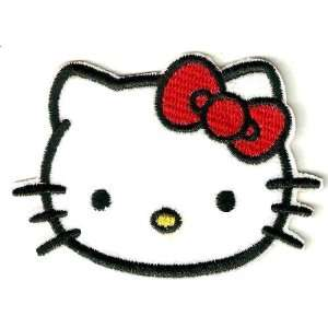 Hello Kitty head red bow Embroidered Iron On / Sew On