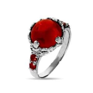 The Sorcerers Magical Red Crystal Sterling Silver Ring Size 8 (Sizes