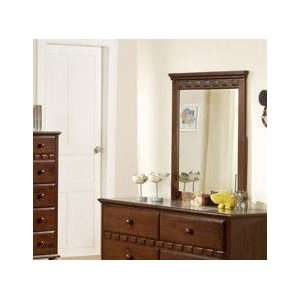 Wall Mirror with Rectangle Shape   Deep Brown Finish Home