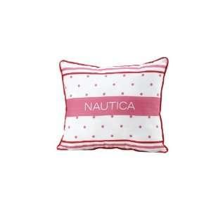 Nautica Kids Melanie Polka Dot/Stripe Pillow, Pink/White