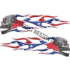 Confederate Flag Skull Flames Automotive