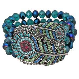 Flight Peacock Feather Stretch Bracelet By Kirks Folly Jewelry
