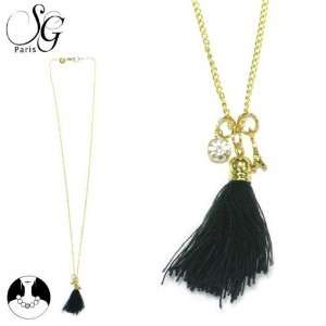 SG Paris Necklace 65Cm Gold Black Crystal Noir/Jet Necklace Necklace