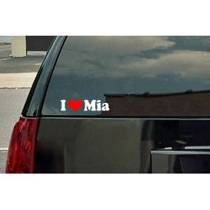 I Love Mia Vinyl Decal   White with a red heart
