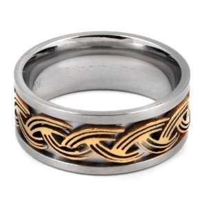 Gold Braid Stainless Steel Mens Ring size 12
