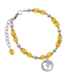 Silver Om in Circle with Clear Swarovski Crystal Yellow Czech Glass