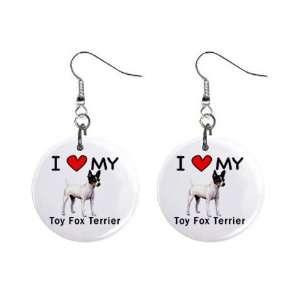 I Love My Toy Fox Terrier Button Earrings