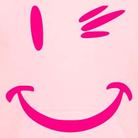 WINKING SMILEY HOODIE BABY PINK/HOT PINK  TuffTs
