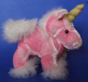 Dan Dee Pink Sparkly Unicorn Plush Stuffed Toy 6 EUC