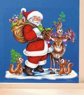 Papá Noël llama a la ventana. Bonita decoración de adornos