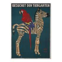 Vintage Travel Poster, German Zoo by yesterdaysgirl