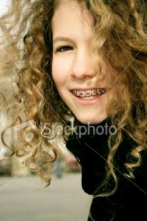 Happy Young Girl with Braces Royalty Free Stock Photo