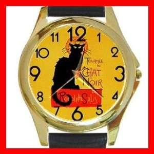 Chat Noir Black Cat Round Gold Metal Watch New Rare