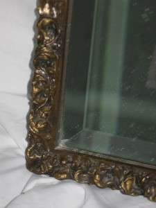 Vintage Carved Wood Gesso Gold Picture Frame Beveled Glass Mirror