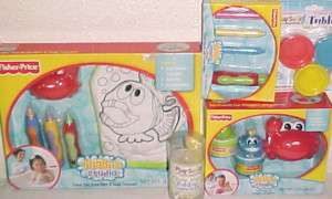 NEW FISHER PRICE TOY LOT BATH TUB TOYS ART GIFT SET