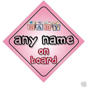 Baby Any Name On Board Car Sign New Girl/Birthday Gift