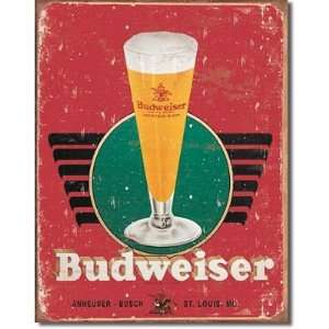 Budweiser Beer in Meal Sign  Rero Glass & Logo , 12x16