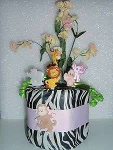 JUNGLE SAFARI ZEBRA BABY SHOWER DIAPER CAKE GIFT BIRTHDAY CENTERPIECE