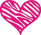 Pink Heart Sticker/Car Decal w/ Zebra Print Background