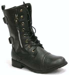 N81 KIDS GIRLS MILITARY LACE UP COMBAT BOOTS BLACK 10 3
