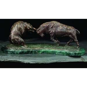 Charging Bull & Bear Fight, Bronzed Metal on Marble Base