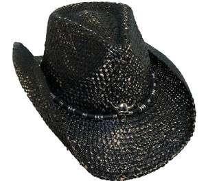 BRET MICHAELS BLACK WESTERN COWBOY HAT SKULL CONCHO GR8 GIFT FOR UR