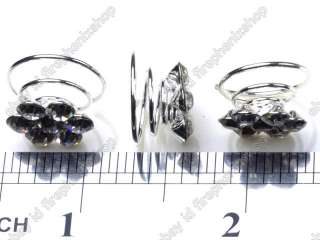 jewelry Clear Crystal Flower silver p Hair Twists spins clips pin