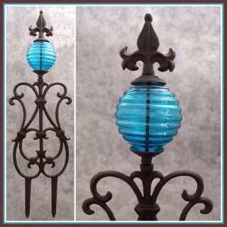 FLEUR DE LIS & BLUE GLASS GLOBE Cast Iron GARDEN STAKE Yard Art