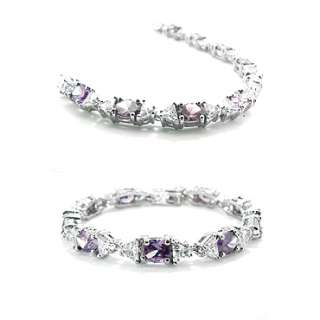 Jewelry PURPLE AMETHYST WHITE GP TENNIS BRACELET HAND CHAIN