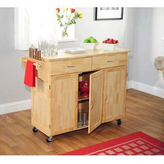 Extra Large Kitchen Cart with Wood Top, Natural