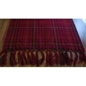 Barn Red, Black and Tan Plaid Table Runner 13 X 36