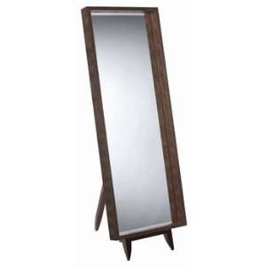 Croc Embd Leather Full Length Mirror w/Wood Stand