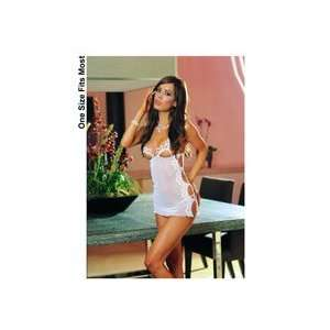 Mesh Open Cup Babydoll w/Embroidered Trim & Thong White O